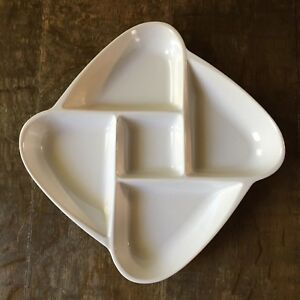 Image Is Loading Vintage White Ceramic Divided Dish Tray Platter For