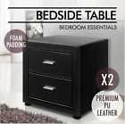 BLACK Premium PU Leather 2x Bedside Table Leather Modern Cabinet 2 Drawers
