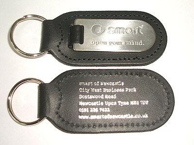 Smart Genuine Leather /& Chrome Keyring//Keyfob//keytag Smart Fortwo Forfour Roadst
