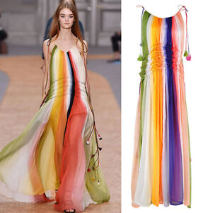 3631cedb217 Ombre Rainbow Deep Dye Crepon Gown Maxi Long dress Tassel String ...