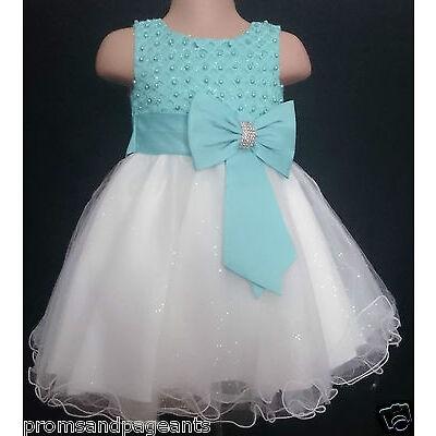 Mint Ivory Flower Girl Bridesmaid Wedding Prom Party Sparkle Diamante Dress 0-13