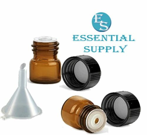 24 1//4 dram AMBER Glass Essential Oil Bottles Vials w// Caps Funnel and Labels