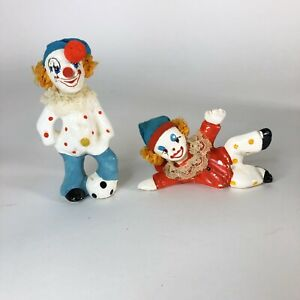 Vintage-Sporty-Clown-Figurines-Set-of-2-4-each