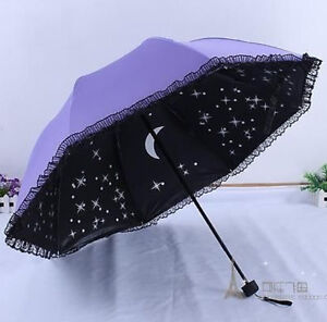 new cute lace women new folding parasol for windproof anti uv sun umbrellas rain ebay. Black Bedroom Furniture Sets. Home Design Ideas