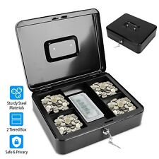 116in Locking Cash Box Money Steel Lock Security Safe Storage Check With Tray