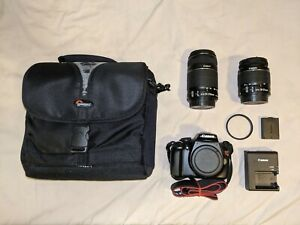 Canon EOS Rebel T3/1100D + 18-55mm + 55-250mm + Charger + Camera Bag + UV filter