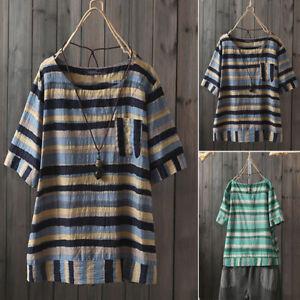 ZANZEA-Femme-T-shirt-Haut-Tops-Manche-Courte-Bande-Casual-en-vrac-Confor-Plus