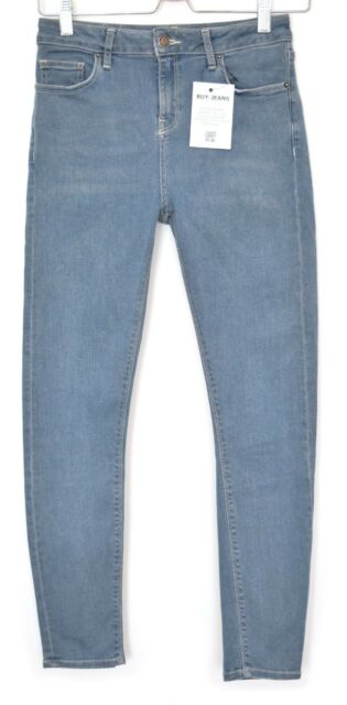 823a937735e22 Topshop SUPER SKINNY JAMIE High Waisted Blue Crop Stretch Jeans Size 10 W28  L30