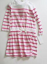 Ralph Lauren Baby Girls Striped Hooded Long Sleeve Dress White/Pink Sz 6M - NWT