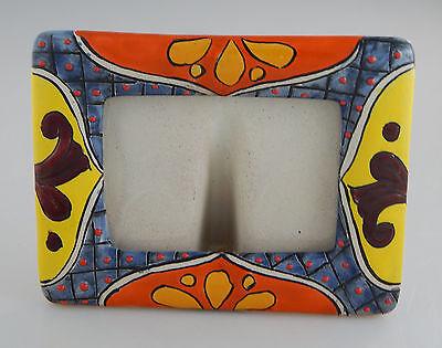 Mexican Talavera Picture Frame Handmade Ceramic Folk Art Horizontal