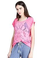 Lucky Brand Lucky Lotus - Womens Xs - Pink Mesh Embroidered Pullover Active Top
