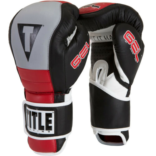 Black//Gray//Red Title Boxing Gel Rush Custom Form Fit Hook and Loop Bag Gloves