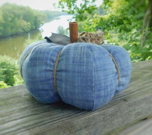Blue Fabric Pumpkin Handmade Home Decor Fall Accent