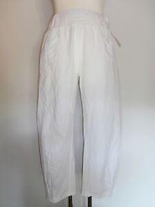 Big size Hose Leinen Übergröße Gr. 42 - 52 weiß Maritim Gummibund Große Größe w