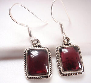Garnet-with-Fine-Rope-Style-Accents-925-Sterling-Silver-Dangle-Earrings