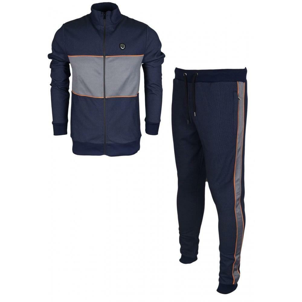 883 Police Ailano Polyester Zip Up Slim Fit Navy Tracksuit