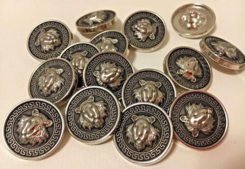 abrigo botones buttons cabeza de león Cabeza de león .10 St botones gris lionhead plata