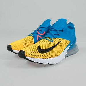 the latest 474ae 2c593 Details about Nike Air Max 270 Flyknit Laser Orange Blue Orbit Yellow Black  Running AO1023-800