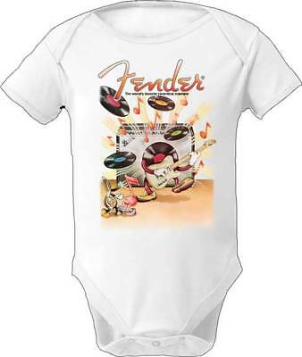 Fender Flying Guitar Red Music Rock Instruments Bodysuit Romper Baby 3F120