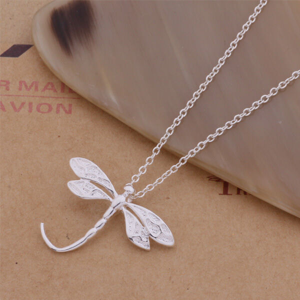 Silver Plated Dragonfly Pendant 925 Stamped Necklace Chain 18'' Women Gift UK