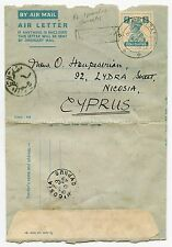 INDIA to CYPRUS AEROGRAMME 1949 + LETTER re PHILATELIC