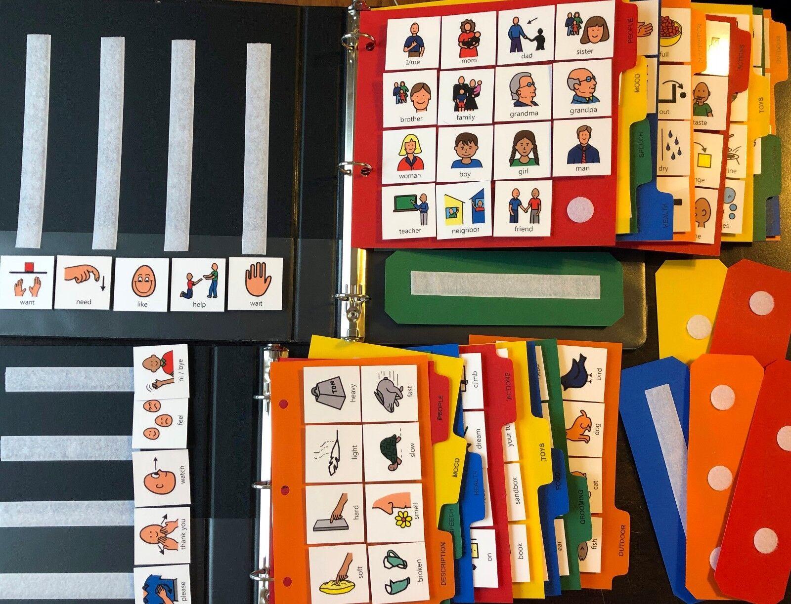 Enorme Lote de 400+ cartas y 2 pectorales Libros Terapia del Lenguaje autismo apraxia Boardmaker