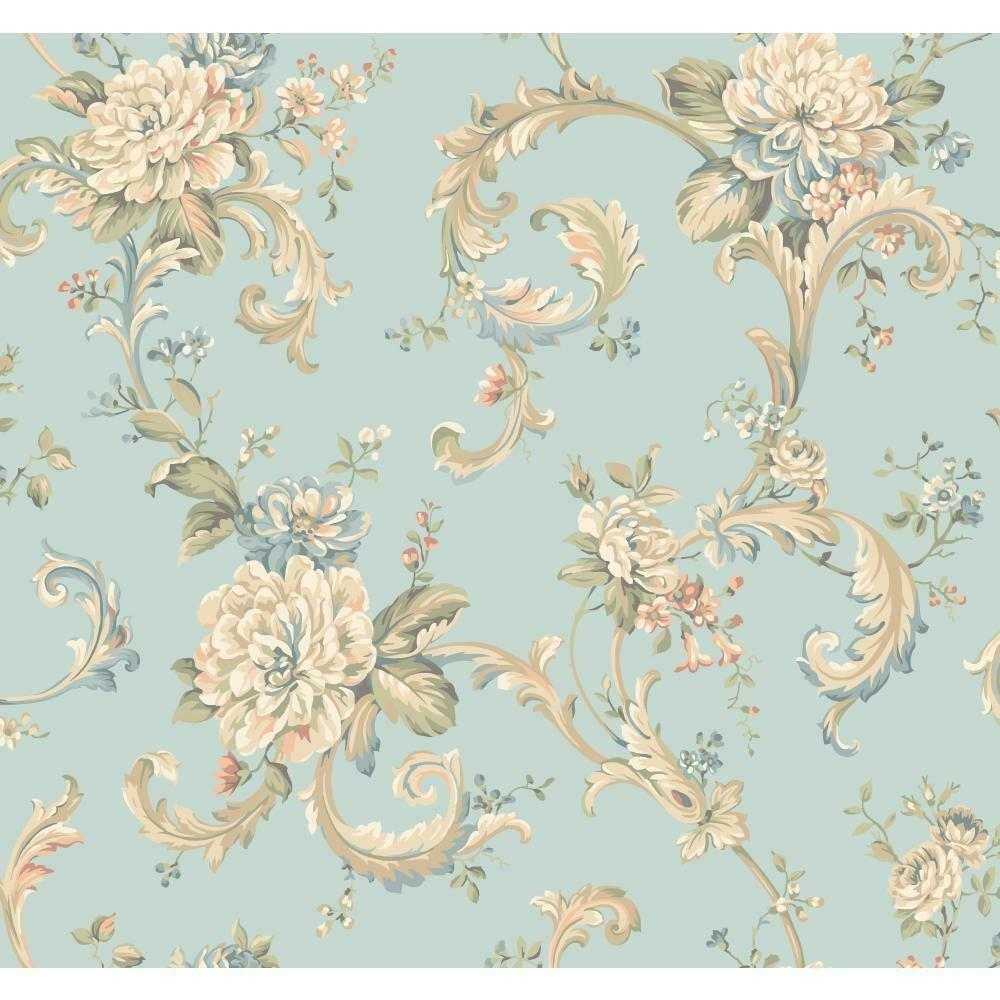 Wallpaper Designer Floral Scroll Wallpaper Blue Aqua Teal Peach