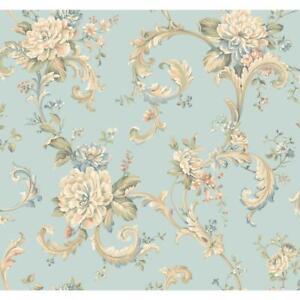 Wallpaper-Designer-Floral-Scroll-Wallpaper-Blue-Aqua-Teal-Peach-White-Pink