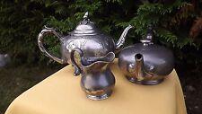 Rare MAGNIFICENT VICTORIAN SILVER PLATE 3PC COFFEE TEA SET James Dixon SHEFFIELD
