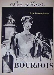 Publicite Parfum Bourjois Soir De Paris Femme De 1958 French Ad Pub