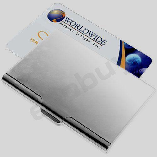 Slim light metal silver business card holder uk ebay reheart Gallery