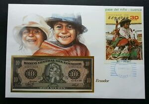 Ecuador Relocation Of The Child Cuenca 1985 FDC Costume (banknote cover) *rare