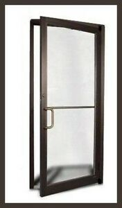 Details about COMMERCIAL ALUMINUM STOREFRONT DOOR & FRAME (DARK BRONZE  FINISH) dog25john