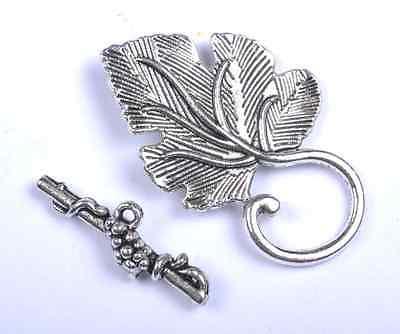 5Sets Tibetan Silver grape leaf Toggle Clasps SH141