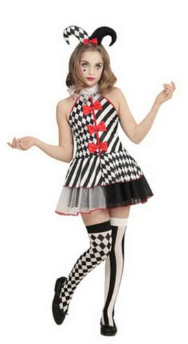 Girl Kids Halloween Harlequin Clown Costume Jester Fancy Dress Stocking Headband