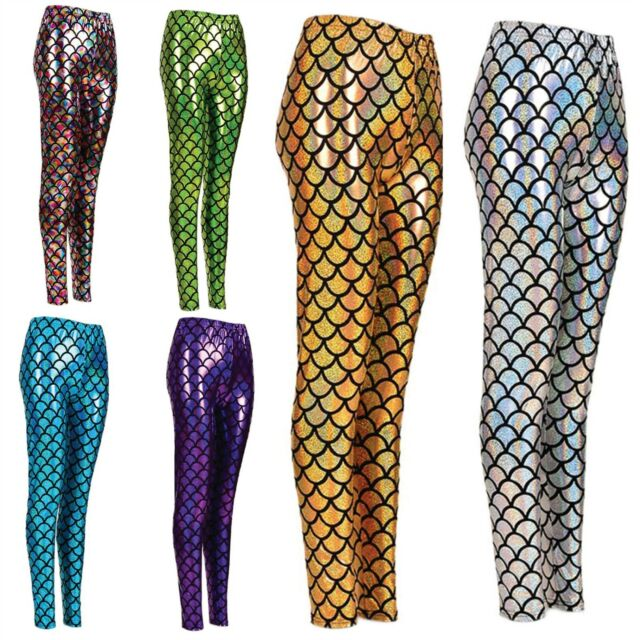Kids Girls Fish Scale Leggings Mermaid Stretch Foil Wet Shiny Disco party Pants