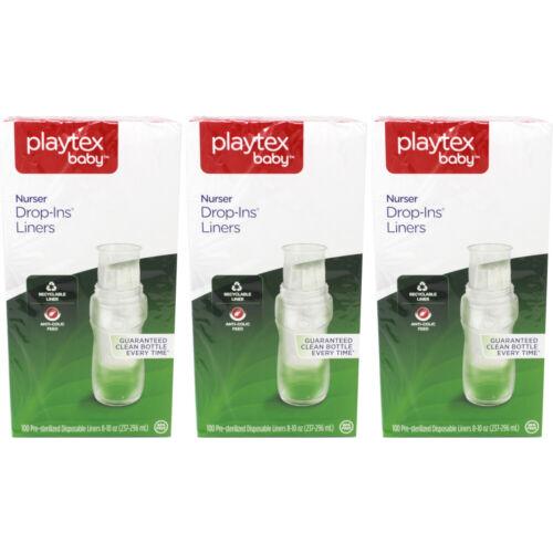 100 Ct Ea 3 Pack Playtex Baby Nurser Disposable Drop-In Baby Bottle Liners 8 Oz