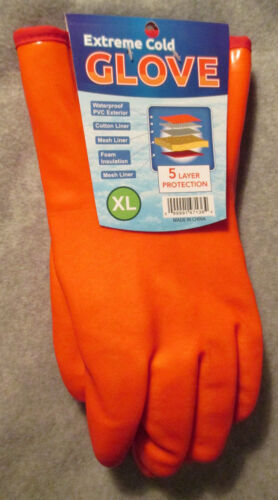 1 XL PVC ORANGE 5-Layer EXTREME COLD WINTER WEATHER Gloves Protection MEN/'s USA