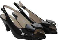Womens Ladies peep toe slingback Kitten Heel party Bridal Evening sandals shoes