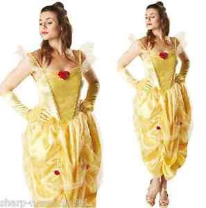 Ladies-Disney-Beauty-amp-The-Beast-Belle-Princess-Fancy-Dress-Costume-Outfit-8-18