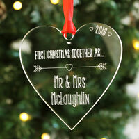 Personalised First Christmas Together Mr Mrs Heart Bauble 1st Keepsake Tree Gift