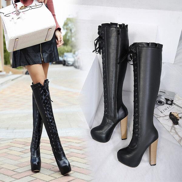 stivali stivaletti ginocchio stiletto 13.5 cm  nero eleganti simil pelle 9521