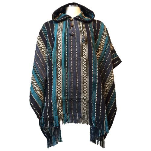 Hippy b Poncho Thick Hooded Stripes In From Nepal Stripe Boho Cotton Blue r7vBr4