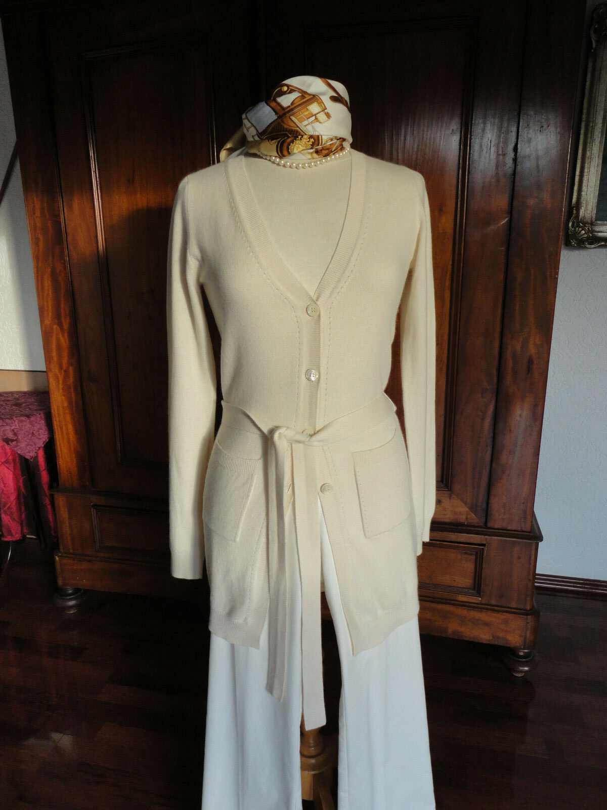 Parenti's lange, sehr edle Cashmere Strickjacke , Gr. 34-36 creme, wollweiss Top