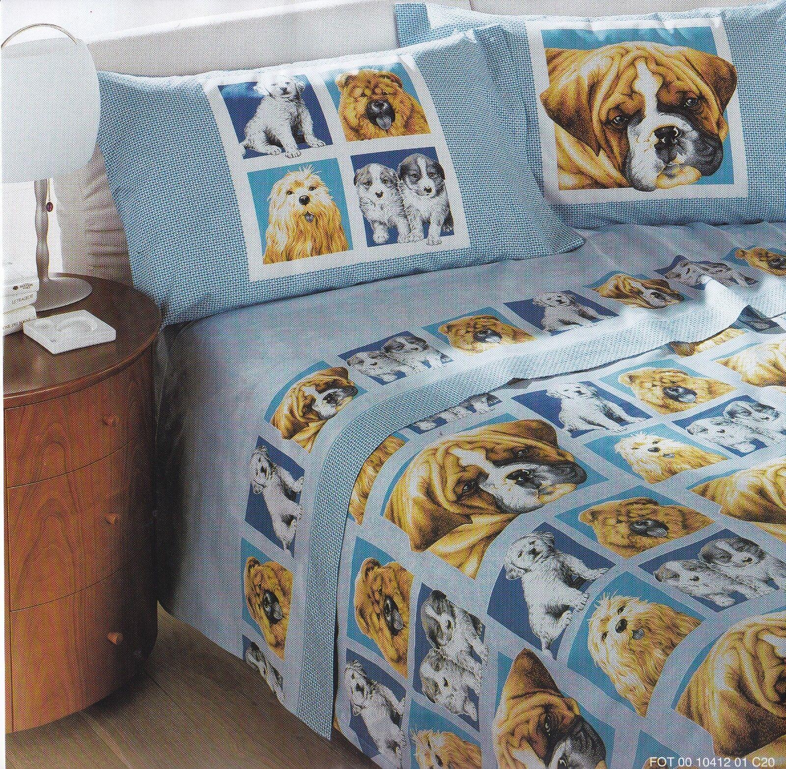 Completo letto, Lenzuola in Caldo Cotone GABEL CANI 10412 Matrimoniale, 2 Piazze
