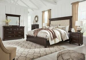 Ashley Furniture Brynhurst Queen Upholstered Panel 6 Piece Bedroom Set Ebay