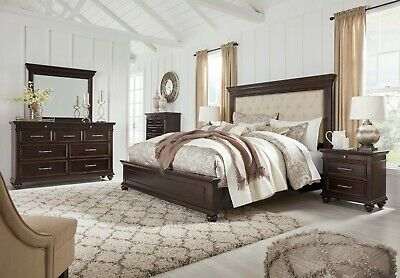 Ashley Furniture Brynhurst Queen Upholstered Panel 6 Piece Bedroom Set |  eBay