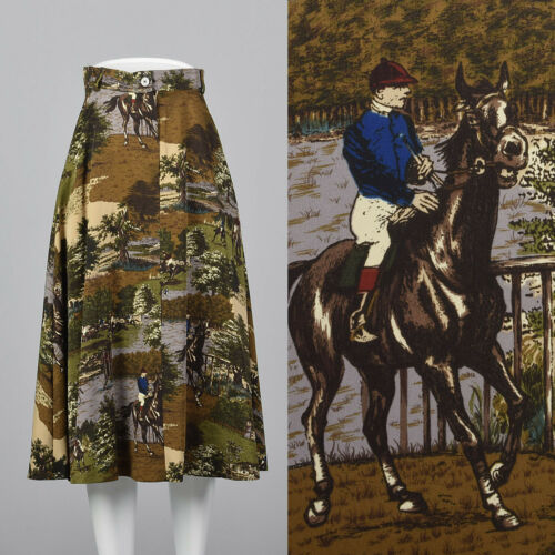 XS 1980s Novelty Print Skirt Horse Theme Pockets V