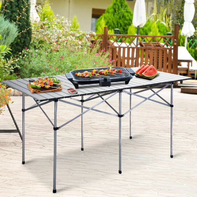 Costway Aluminum Portable Folding Picnic Table Camping Suitcase w// Bench Outdoor