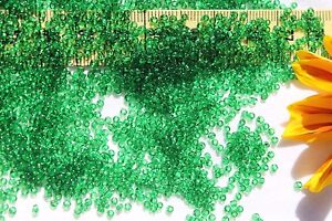 11-0-Old-Time-Vintage-Venetian-Trans-Green-Seed-Beads-1oz